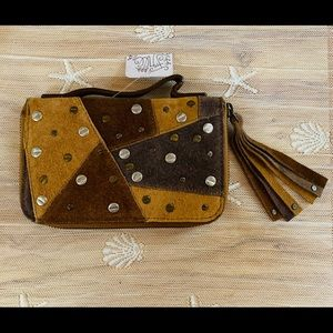 NWT Free People Suede Clutch Wallet Zippered Brown